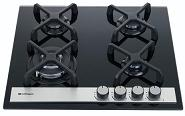 HOB604A-GBB  SAFEGAS 4 BURNER GLASS HOB WITH STAINLESS TRIM