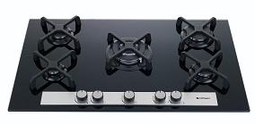 HOB915-GCB  SAFEGAS 5 BURNER GLASS HOB WITH STAINLESS  TRIM