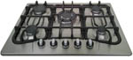 Safegas 5Burner Hob - Cast iron + Wok
